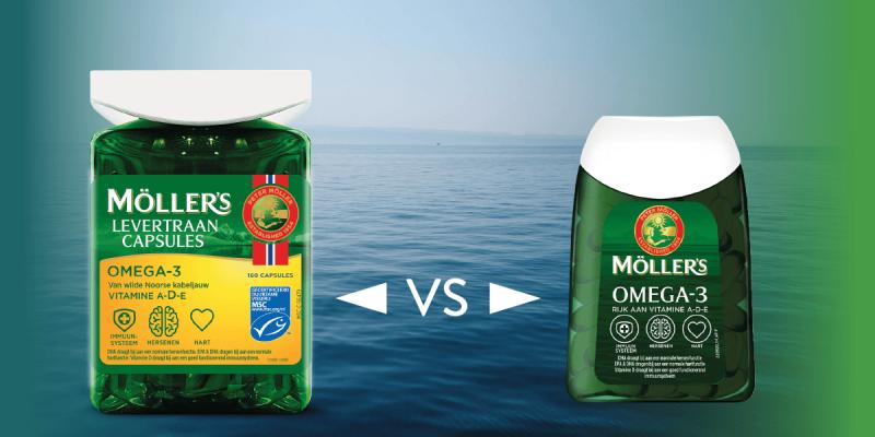 Wat is het verschil tussen Möller's Levertraancapsules en Möller's Visoliecapsules?